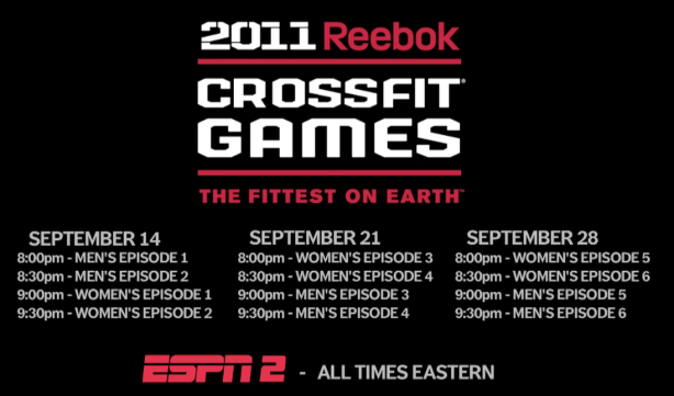 CrossFit, CrossFit Games, CrossFit Games on ESPN2, CrossFit Games Schedule, ESPN2 Schedule, Smashby Training, ESPN2