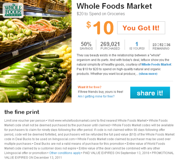 CrossFit, Smashby Training, Deal of the Day, Living Social, Whole Foods